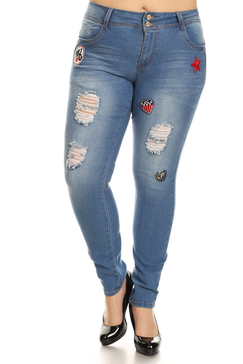 CG7-7G159P - Plus Size, Badge Patch, Butt Lift, Destroyed Rips Skinny Jeans