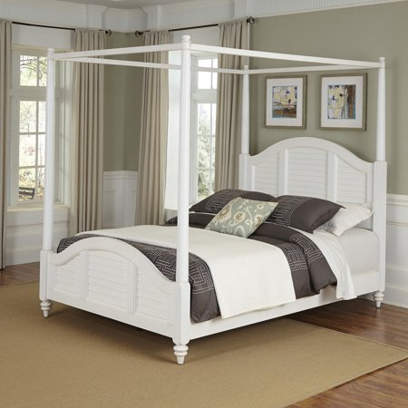 Home styles bermuda queen canopy bed brushed white - Pictures of canopy beds ...