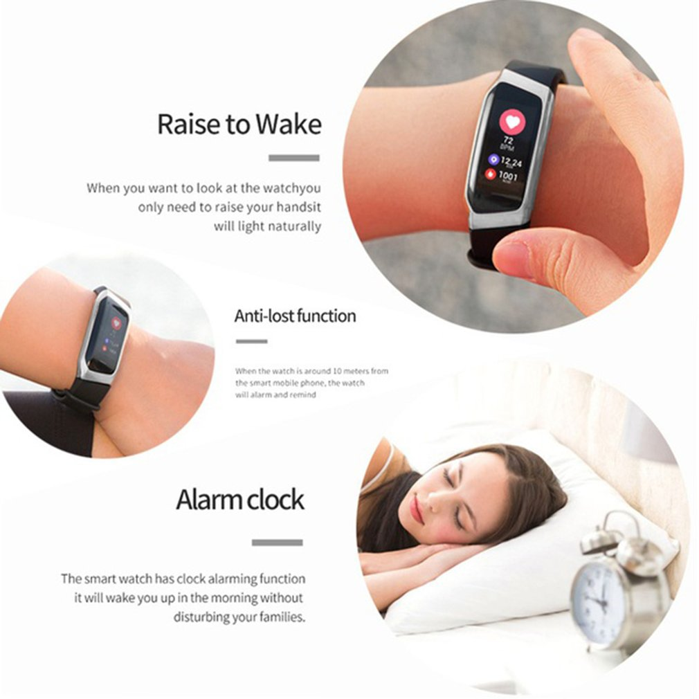 0.96 Inch Screen IP67 Smartband Blood Pressure Oxygen Heart Rate Monitor Band - image 4 de 10