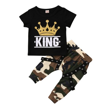 Toddler Baby Kid Boys Short Sleeve Crown King T-shirt Top With Camo Pant Outfits](King Outfits For Adults)