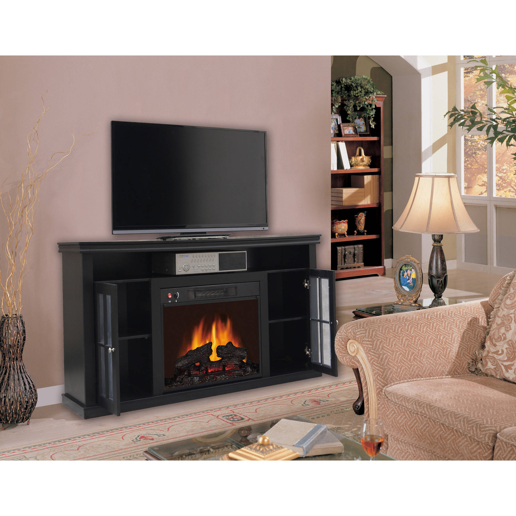 60`` Black Electric Fireplace Heater