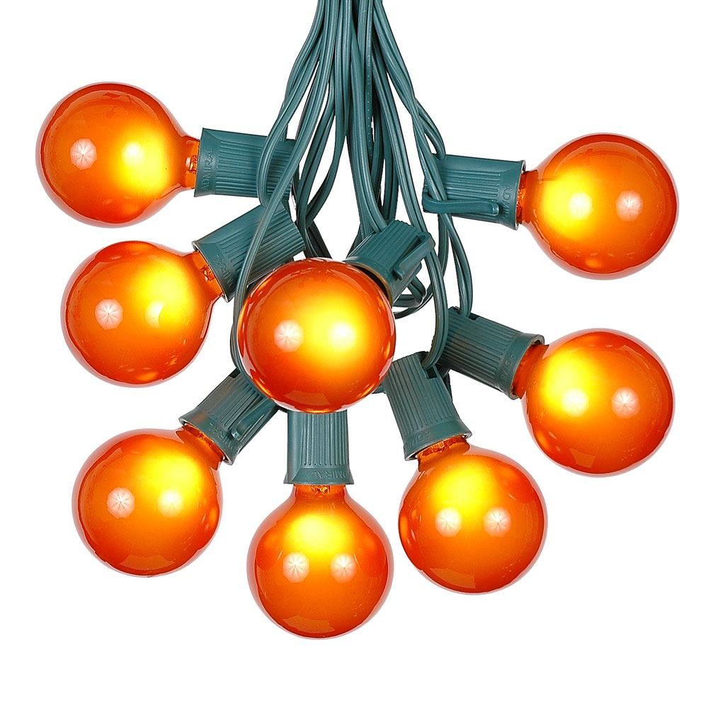 G50 Patio String Lights with 125 Clear Globe Bulbs – Outdoor String Lights – Market Bistro Café Hanging String Lights – Patio Garden Umbrella Globe Lights - Green Wire - 100 Feet
