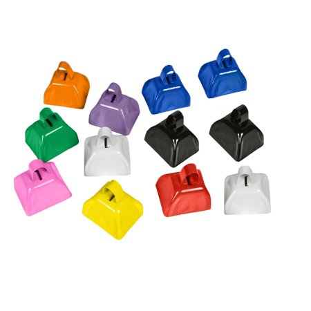 Cowbell Noise Maker Assorted 12 Pack Fun Colors Western Party Prop Accessory Set