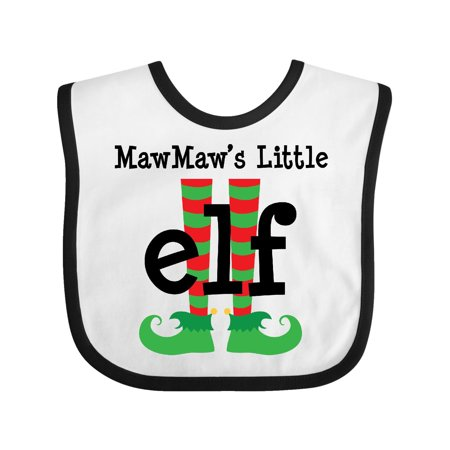 MawMaw s Little Elf Baby Bib White Black One Size