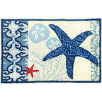 Homefires Waterfront Blue/Ivory Italian Tile With Starfish Outdoor Area Rug