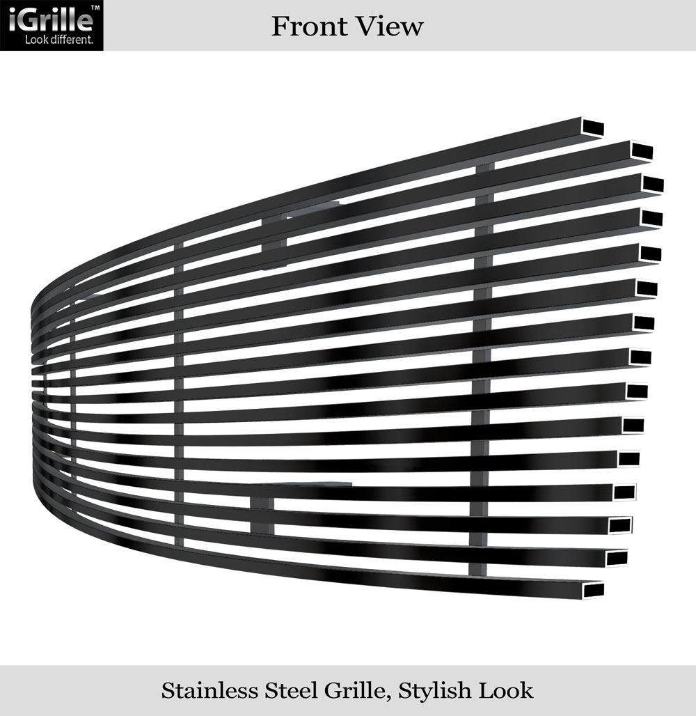 APS Compatible with 2009-2014 Nissan Maxima Upper Black Stainless Steel Billet Grille Insert N19-J81258N