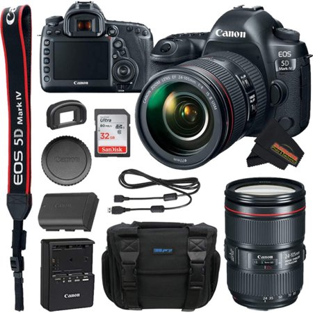 Canon EOS 5D Mark IV DSLR Camera with 24-105 mm F/4l II Lens +32GB SD +Buzz-Photo Bundle