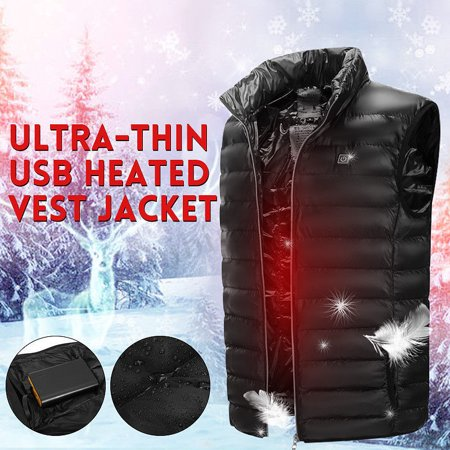 Electric Heating Sleeveless Vest Coat Heated Cloth Jacket USB Thermal Warm Winter Body Warmer(L) Ladies Thermal Shell Jacket