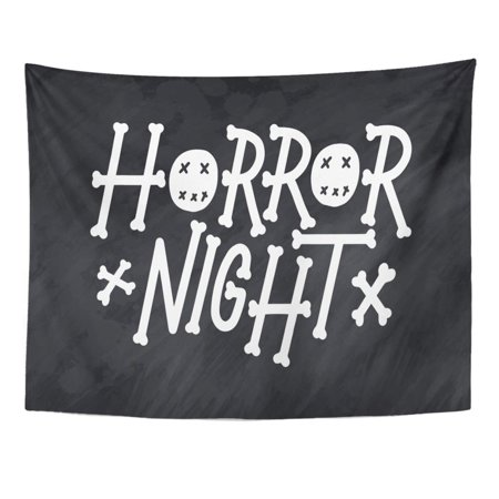 ZEALGNED Abstract Phrase for Happy Halloween Modern and Lettering Quote Horror Boo Text on Party Night Badge Wall Art Hanging Tapestry Home Decor for Living Room Bedroom Dorm 51x60
