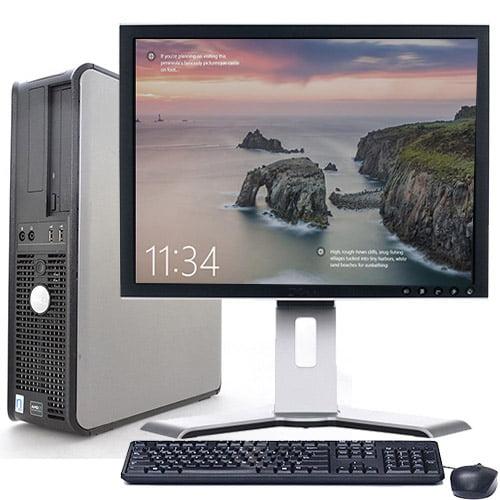 "Dell Optiplex Desktop Computer Bundle PC Windows 10 Intel Processor 4GB RAM 160GB HD DVD Wifi with a 17"" LCD Keyboard and Mouse-Refurbished Computer"