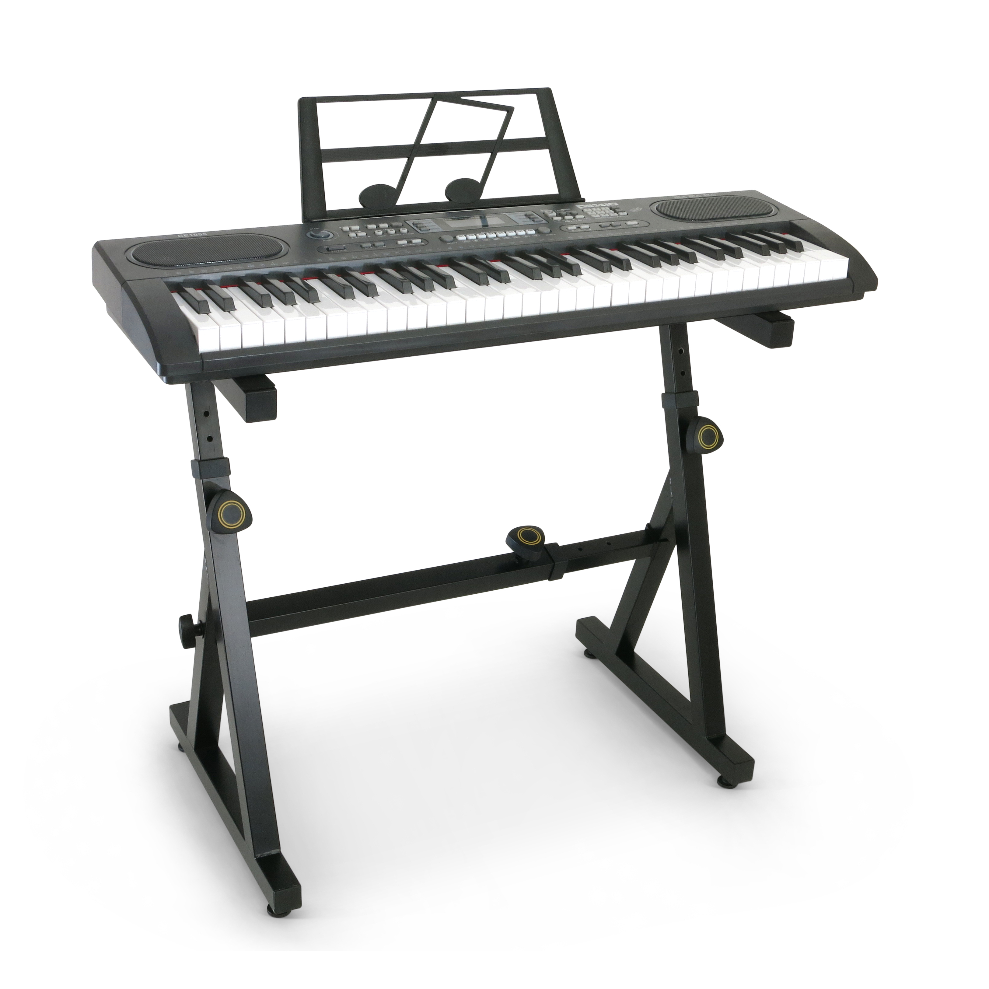 Plixio 61 Key Electronic Keyboard Piano with LED Display and Adjustable Z Style Stand