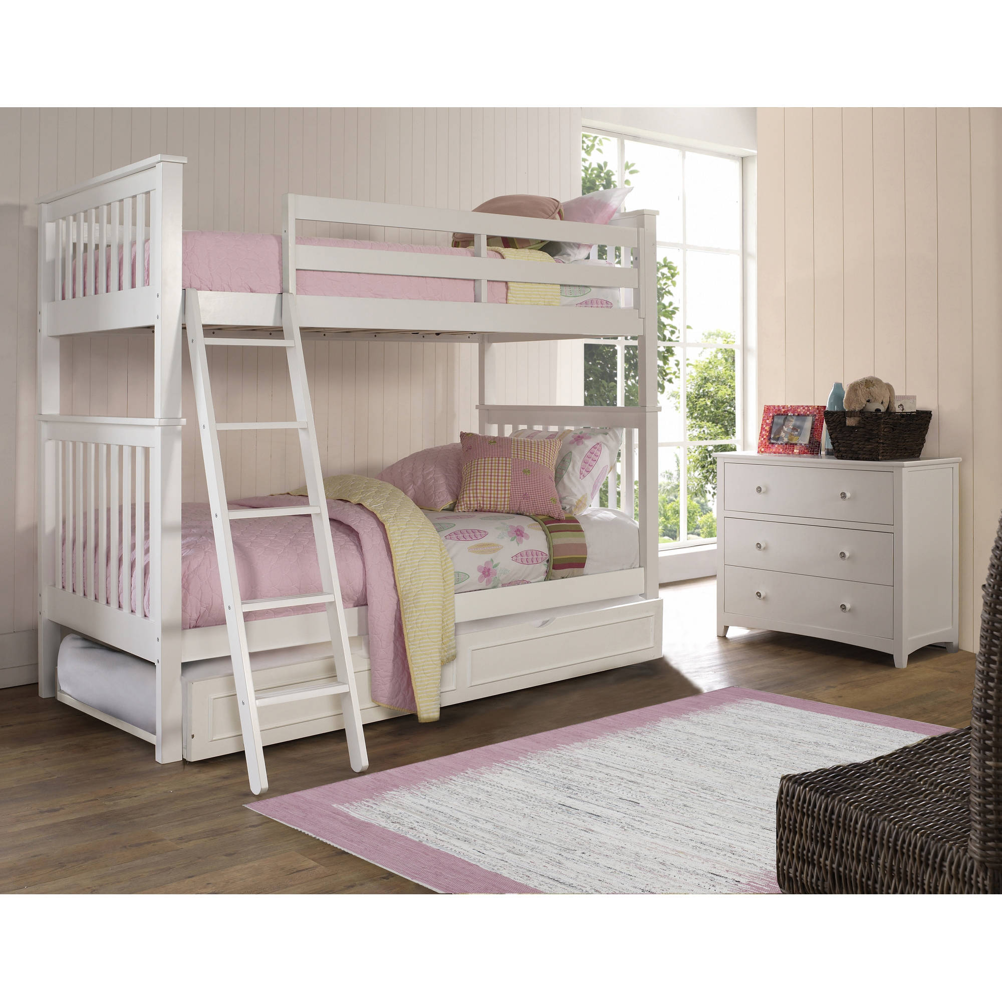 Hillsdale Furniture Barrett Bunk Bed with Trundle, Multiple Sizes and Colors