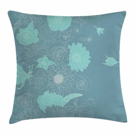 Art Nouveau Throw Pillow Cushion Cover, Exotic Blooms Romantic Wedding Bouquet Flowers Doodle Garden Theme, Decorative Square Accent Pillow Case, 18 X 18 Inches, Turquoise Slate Blue, by Ambesonne - Halloween Themed Wedding Bouquets