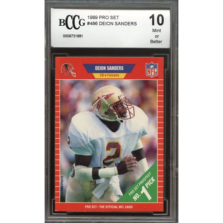 1989 Pro Set 486 Deion Sanders Atlanta Falcons Rookie Card Bgs Bccg 10