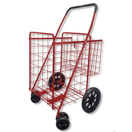 Folding Shopping Cart Double Basket Swivel Wheel Jumbo 360 Easy Rotation With Free Liner And Cargo Net By Scf  Red With Blue Liner