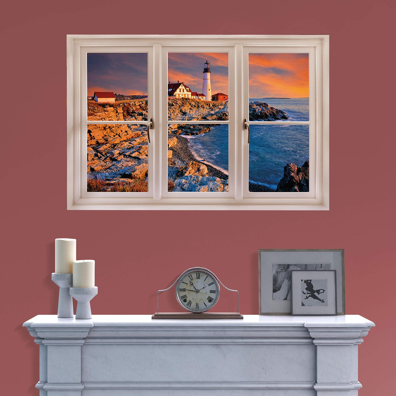 Fathead Instant Window of Portland Maine Lighthouse Wall Decal