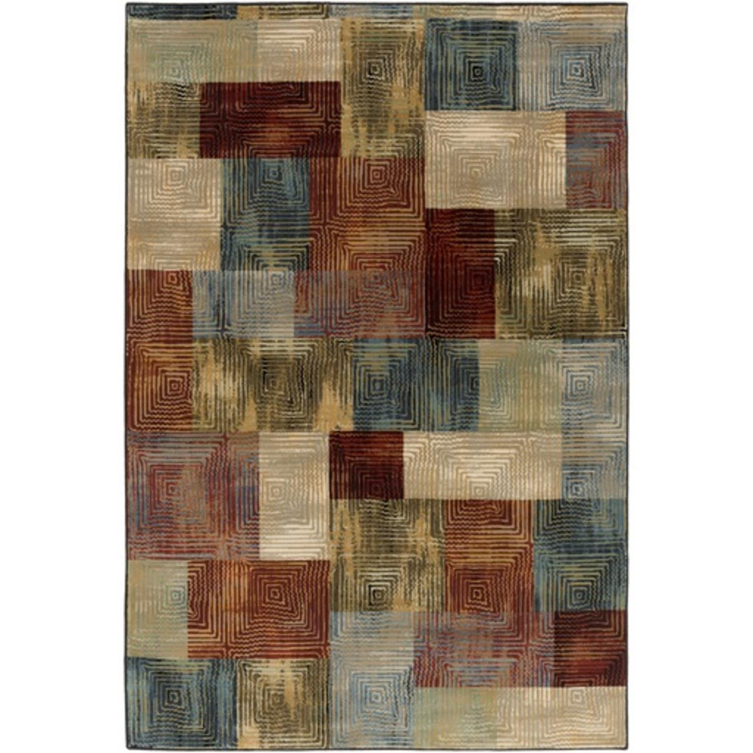 1.85' x 2.9' Whimsical Shingles Burgandy, Cobalt Blue, and Olive Green Area Throw Rug