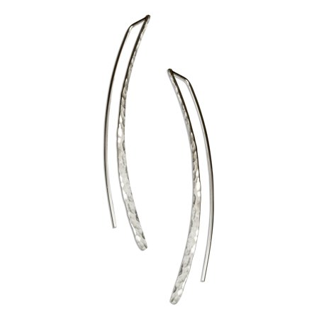 Sterling Silver Hammered Circle Earrings - STERLING SILVER HAMMERED CURVE DROP EARRINGS