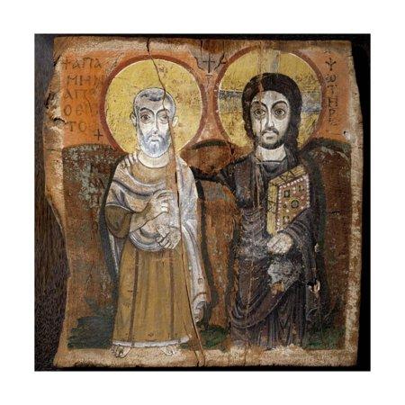 Coptic Art (Christ and Abbot Mena, Coptic Painting Print Wall)