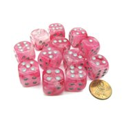 Chessex Ghostly Glow 16mm D6 Dice Block (12 Dice) - Pink with Silver Numbers #27724