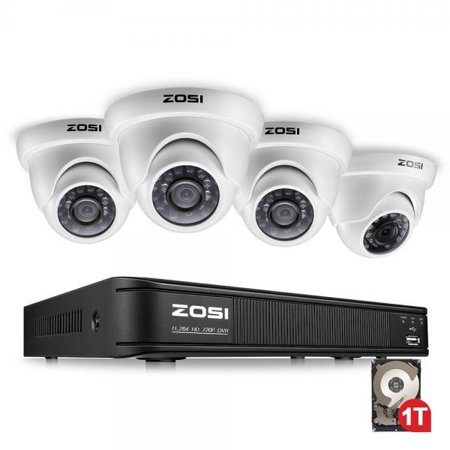 ZOSI 8-Channel 720p HD-TVI Security Camera System,1080P Lite Video DVR  Recorder (1TB HDD Built-in) and (4) 1 0MP(1280TVL) Day Night Indoor/Outdoor
