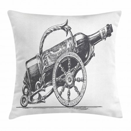 Wine Throw Pillow Cushion Cover, Hand-Drawn Sketch Vintage Bottle of Wine on Antique Stand Illustration, Decorative Square Accent Pillow Case, 16 X 16 Inches, Charcoal Grey and White, by Ambesonne