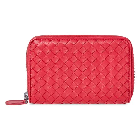 Bottega Veneta Zip-Around Wallet- Red