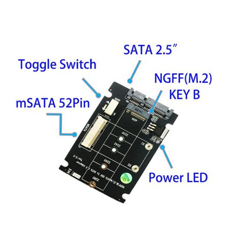 S107-RTK Adapter Card Expansion Card All 2 in 1 mSATA to SATA NGFF(M.2) to SATA III SATA3 Converter /Adapter Support mSATA/M.2 NGFF SSD Solid State Disk for Desktop - image 3 of 7