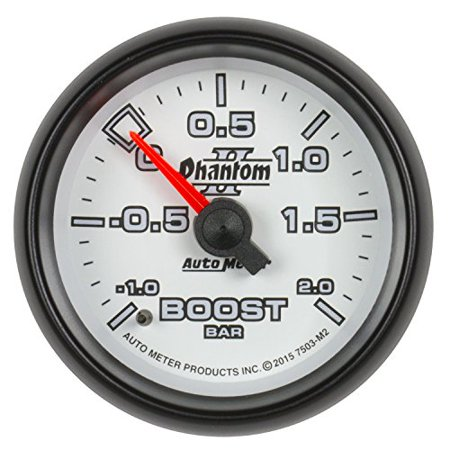 Auto Meter 7503-M2 Phantom Ii? Mechanical Boost/vacuum Gauge; 2 1/16 In.; Minus 1/plus2 Bar; Incl. White Dial Face W/fluorescent Red Pointer; Blackbezel; White Led -
