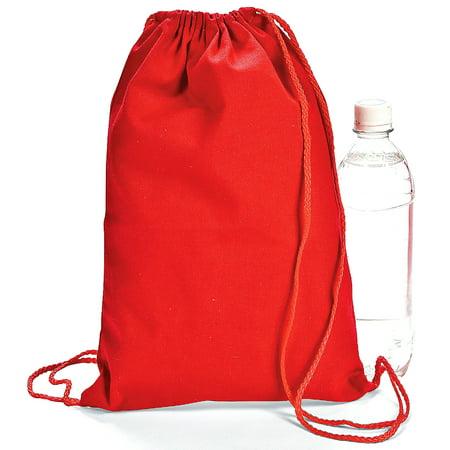 Red Drawstring Backpacks (1 Dozen) - BULK (Backpacks Cheap Bulk)