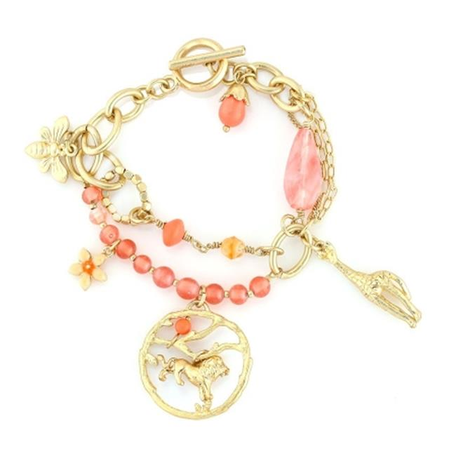 Eshopo 0900000010613 Gold-Tone Metal Peach Beads And Animal Charms Wrap Around Bracelets