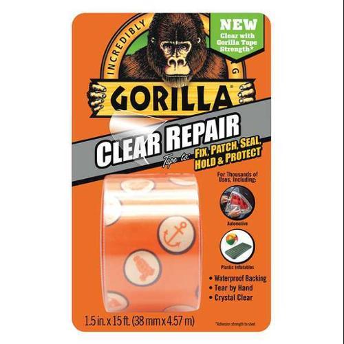 GORILLA GLUE 6015002 Duct Tape,Clear,5 yd.,1-1/2 in. W G1999868