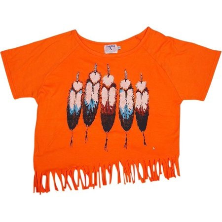 Purple Orchid - Big Girls Short Sleeve Top ORANGE / 12