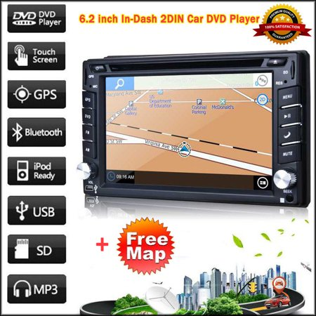 6.2″ HD Touch Screen 2DIN Car GPS Stereo DVD Player Bluetooth iPod FM TF TV