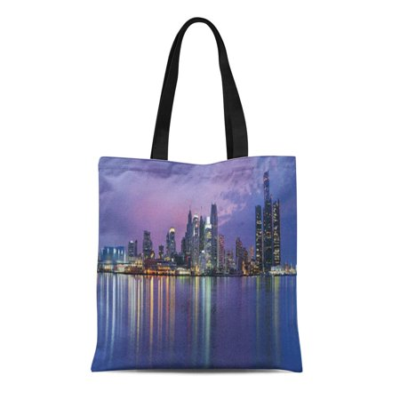 ASHLEIGH Canvas Tote Bag City Usa Michigan Skyline Night Travel Destinations Panoramic Outdoors Reusable Handbag Shoulder Grocery Shopping (Michigan City Mall Stores)
