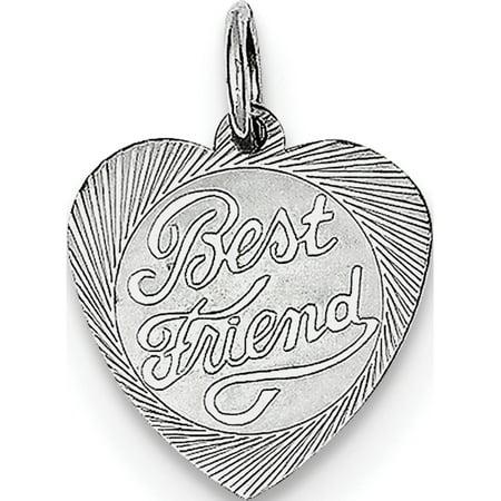 Leslies Fine Jewelry Designer 925 Sterling Silver Best Friend Heart Disc (13x15mm) Pendant