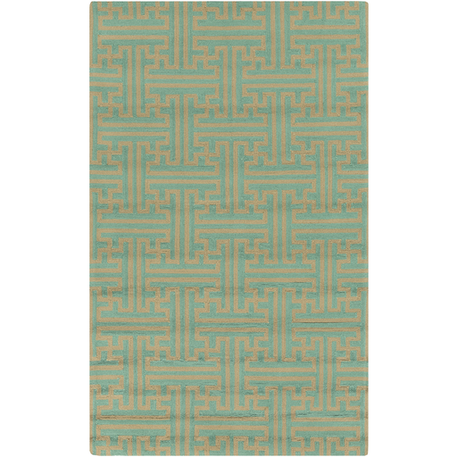 2' x 3' Grande Foret Teal and Toffee Brown Hand Hooked Outdoor Area Throw Rug