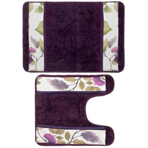 Beautiful Water Color Style Lilac Bath Rug and Contour Set or Separates Contour mat only