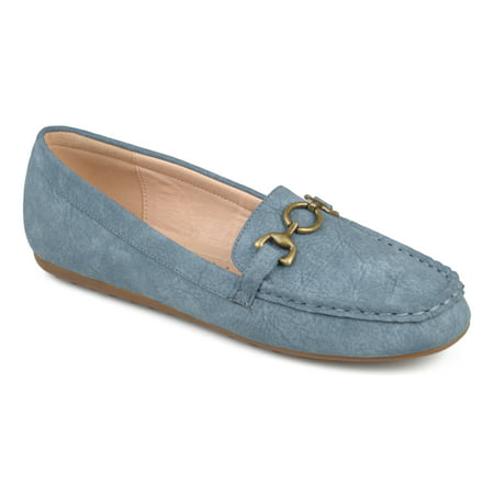 Brinley Co. Women's Faux Leather Comfort-sole Square Toe Chain Distressed Driving Loafers ()
