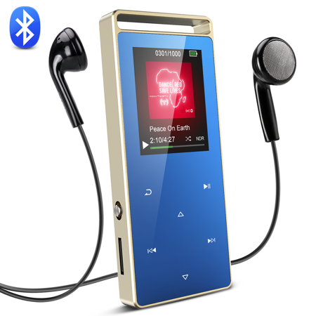AGPTEK 8GB Bluetooth MP3 Player Touch Screen with FM/ Voice Recorder, Lossless Sound Metal Music Player, A01T,Royal