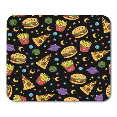 SIDONKU Cute Pizza Hamburger and French Fries Flying in Open Mousepad Mouse Pad Mouse Mat 9x10