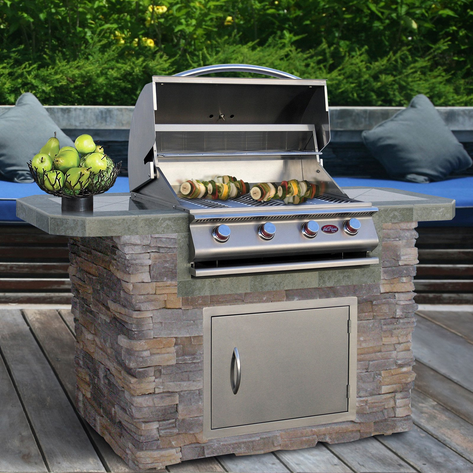 Cal Flame 6 ft. Natural Stone And Tile Grill Island With 4 Burner Gas Grill by Overstock
