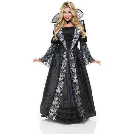 Black Silver Vampire Countess Gothic Adult Womens Halloween Costume - Hot Vampire Woman