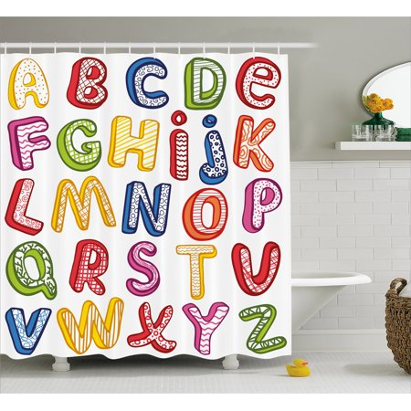 Educational Shower Curtain, Hand Drawn Colorful 3D Style ABC Letters with Kids Patterns Joyful Fun Design, Fabric Bathroom Set with Hooks, 69W X 75L Inches Long, Multicolor, by Ambesonne ()