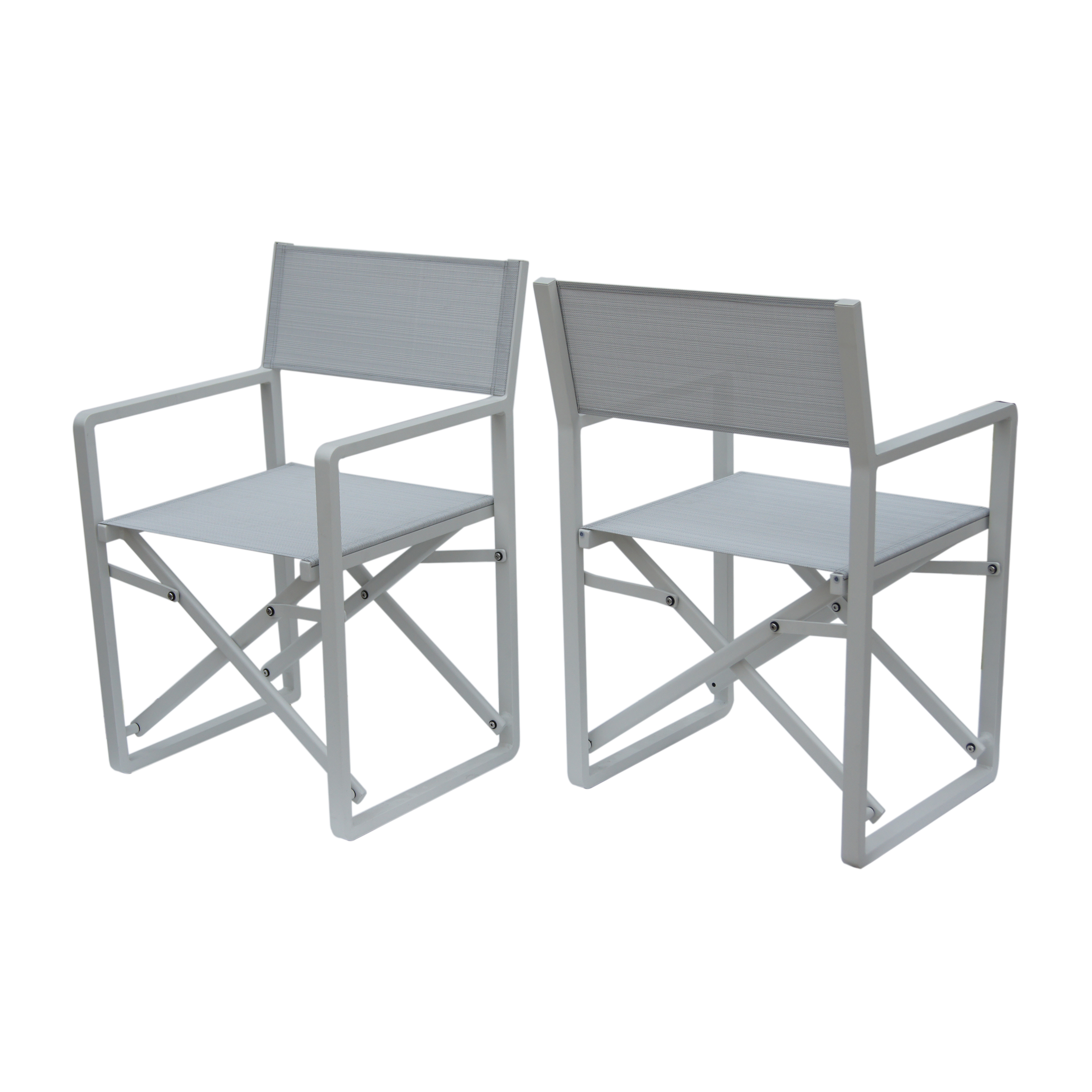 Teresa Vista Outdoor Mesh and Aluminum Director Chairs, Set of 2, White