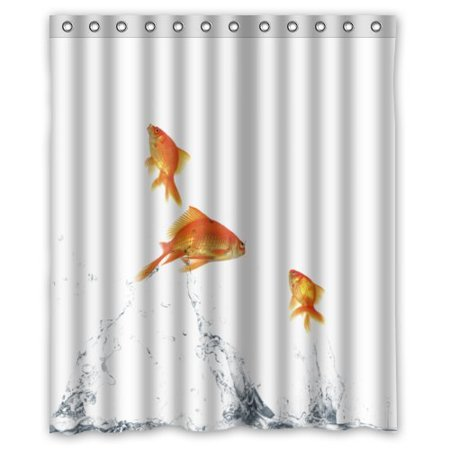 GreenDecor Goldfish Waterproof Shower Curtain Set with Hooks Bathroom Accessories Size 60x72 inches
