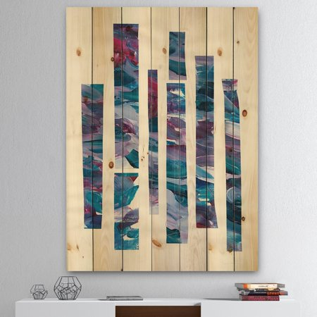 Multi Color Natural Wood - DESIGN ART Designart 'Ribbons of Jewels I' Modern Geometric Print on Natural Pine Wood - Multi-color