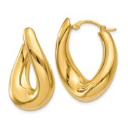 Primal Gold 14 Karat Yellow Gold Twisted Oval Hoop Earrings