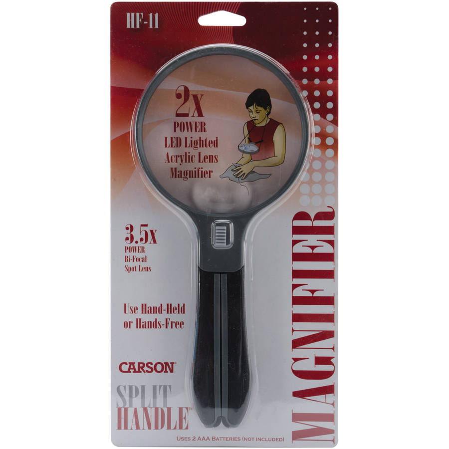 Carson Optical 4.3-Inch SplitHandle LED Lighted Magnifier, 2x Power with 3.5x Spot Lens (HF-11) Multi-Colored