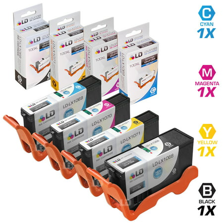 LD © Compatible Lexmark 100XL / 100 Set of 4 High Yield Ink Cartridges: 1 Black 14N1068, Cyan 14N1069, Magenta 14N1070, and Yellow 14N1071